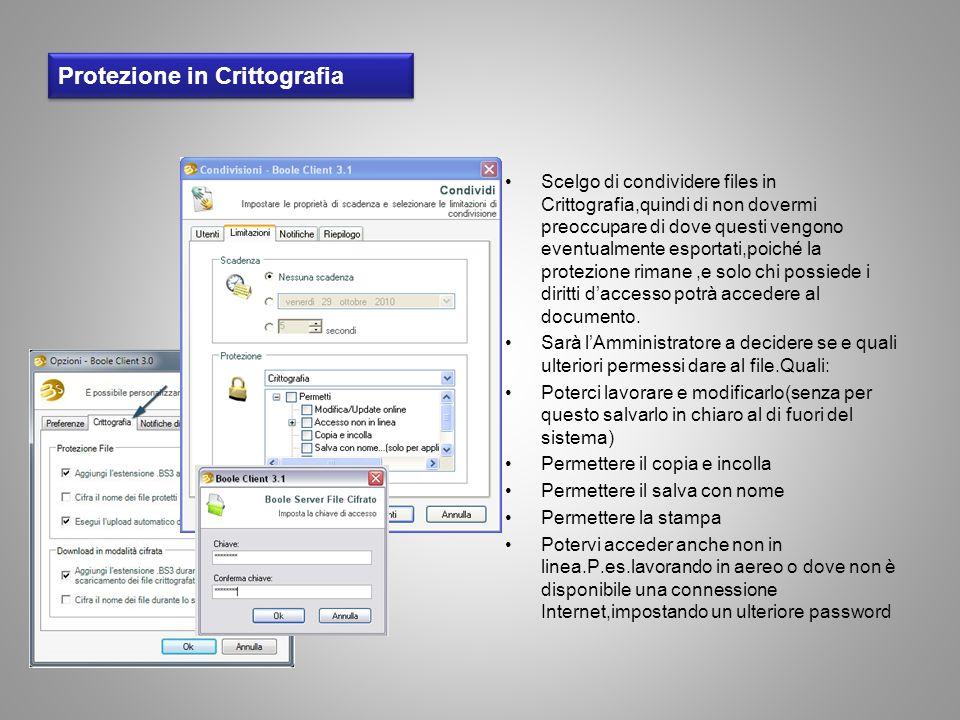 Protezione in Crittografia Scelgo di condividere files in Crittografia,quindi di non dovermi preoccupare di dove questi vengono eventualmente esportat