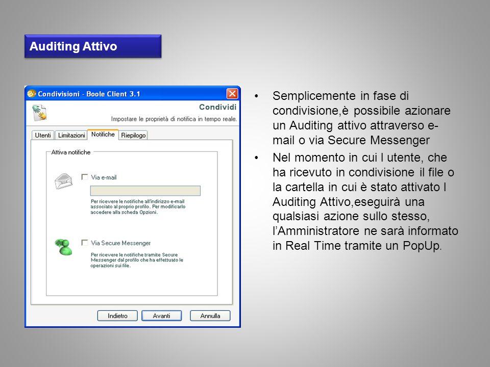 Auditing Attivo Semplicemente in fase di condivisione,è possibile azionare un Auditing attivo attraverso e- mail o via Secure Messenger Nel momento in