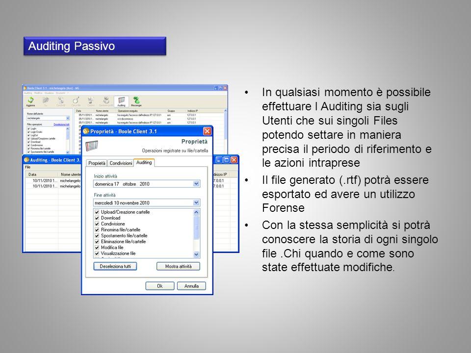 Auditing Passivo In qualsiasi momento è possibile effettuare l Auditing sia sugli Utenti che sui singoli Files potendo settare in maniera precisa il p