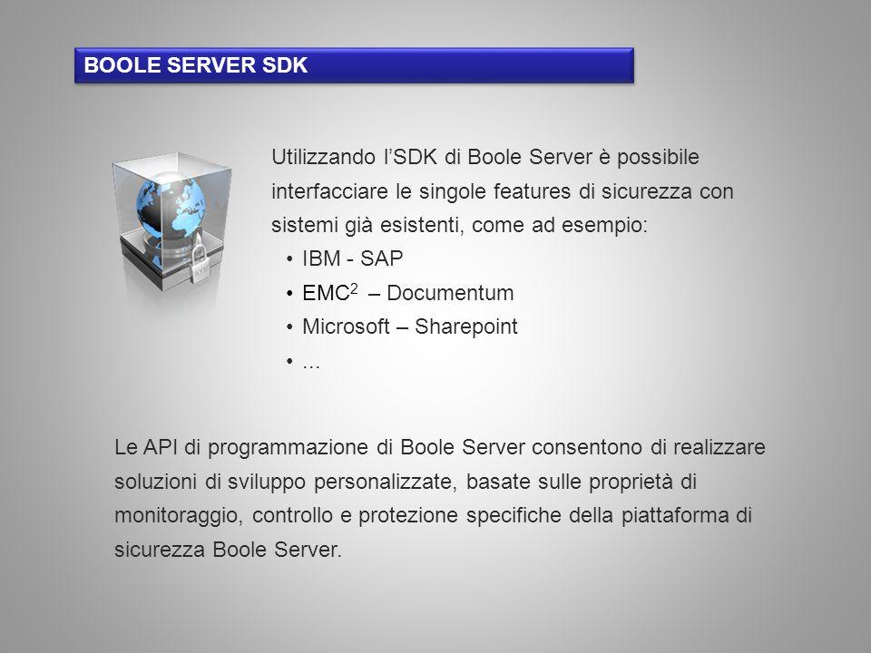 BOOLE SERVER SDK Utilizzando lSDK di Boole Server è possibile interfacciare le singole features di sicurezza con sistemi già esistenti, come ad esempi