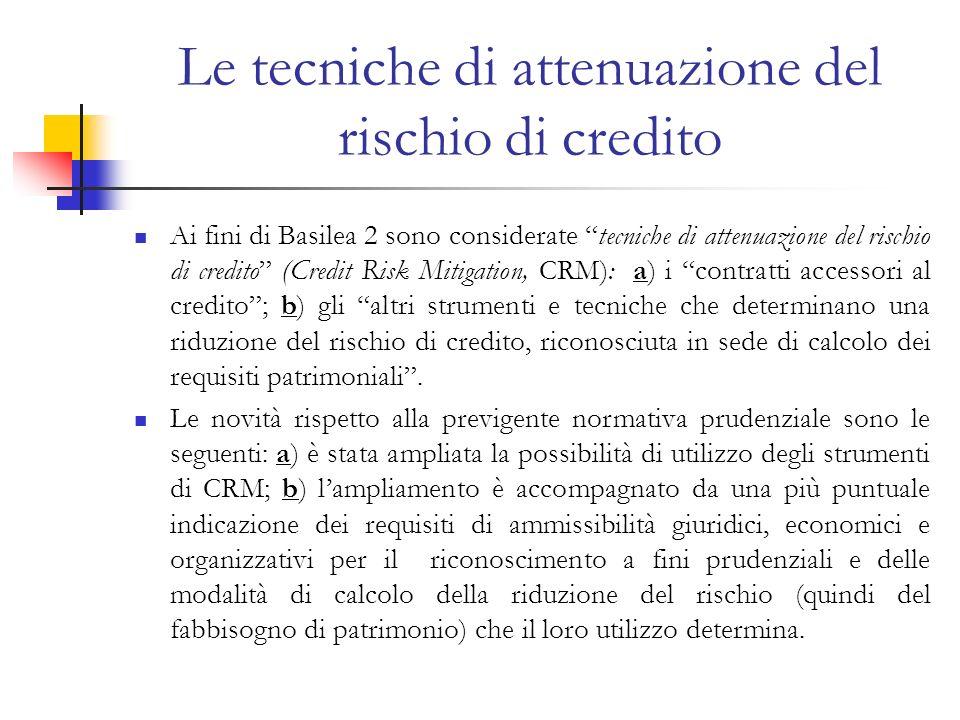 Le tecniche di attenuazione del rischio di credito Ai fini di Basilea 2 sono considerate tecniche di attenuazione del rischio di credito (Credit Risk