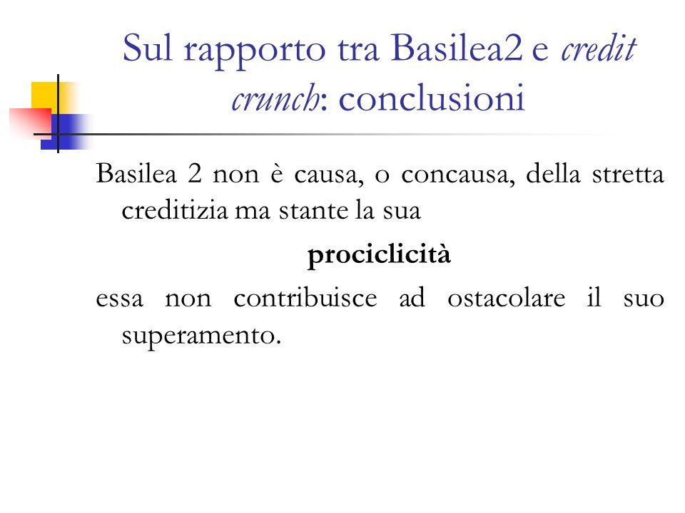 Sul rapporto tra Basilea2 e credit crunch: conclusioni Basilea 2 non è causa, o concausa, della stretta creditizia ma stante la sua prociclicità essa non contribuisce ad ostacolare il suo superamento.