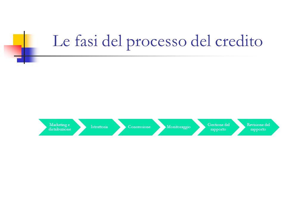 Le fasi del processo del credito Marketing e distribuzione IstruttoriaConcessioneMonitoraggio Gestione del rapporto Revisione del rapporto