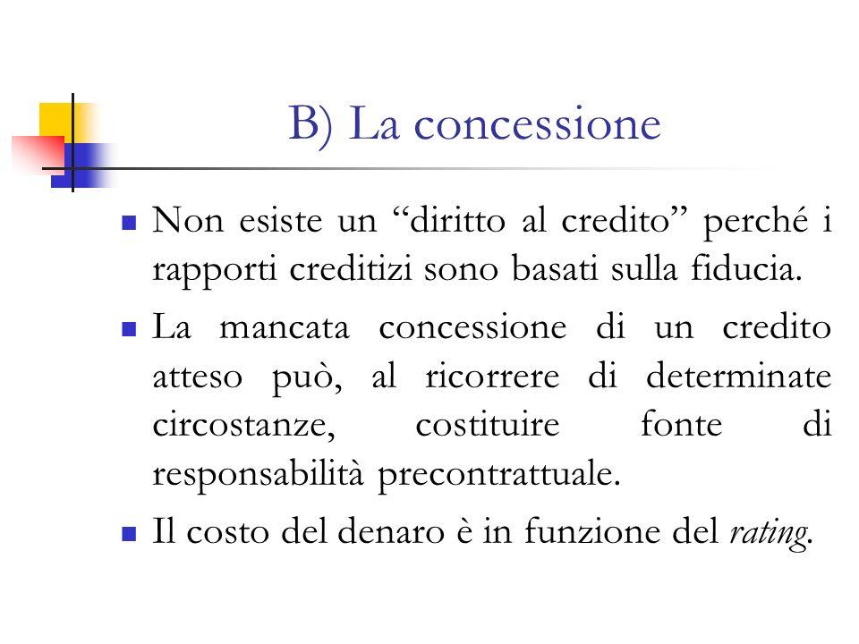 B) La concessione Non esiste un diritto al credito perché i rapporti creditizi sono basati sulla fiducia. La mancata concessione di un credito atteso