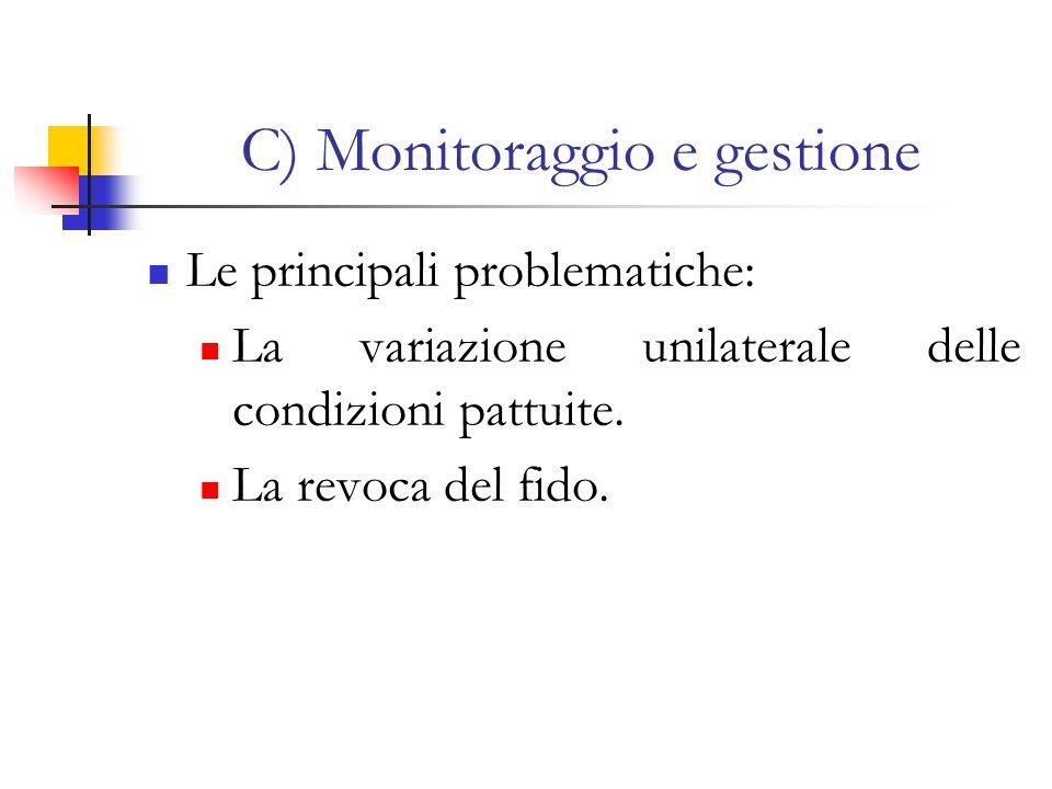 C) Monitoraggio e gestione Le principali problematiche: La variazione unilaterale delle condizioni pattuite. La revoca del fido.