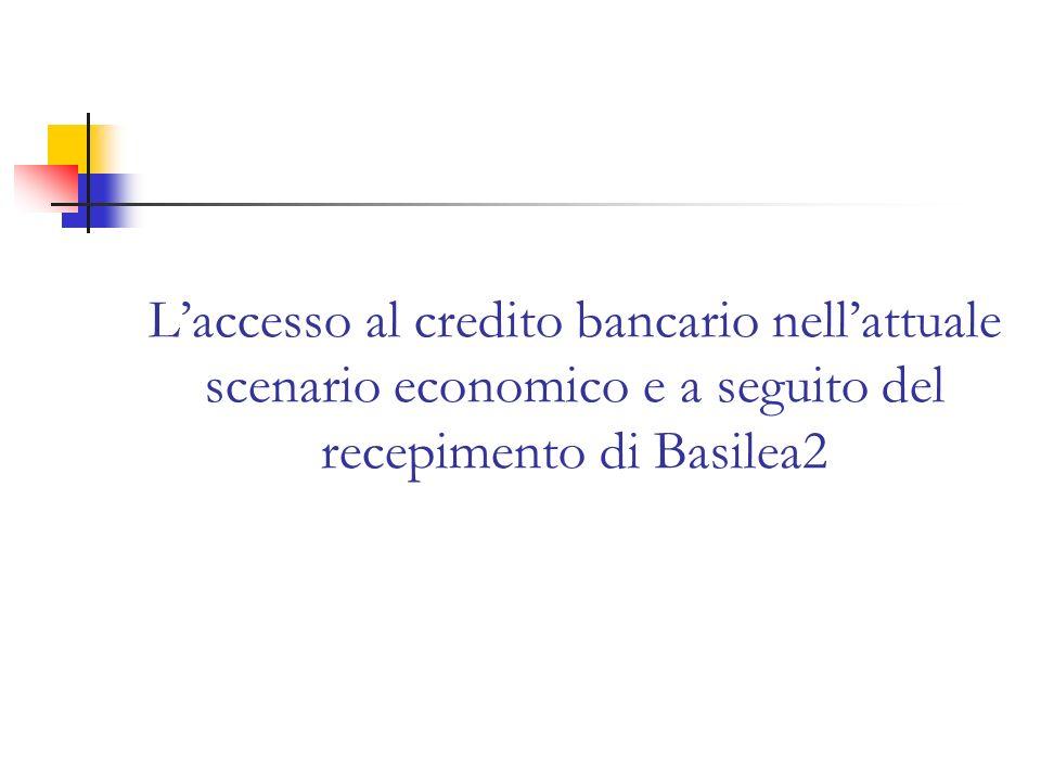 Laccesso al credito bancario nellattuale scenario economico e a seguito del recepimento di Basilea2