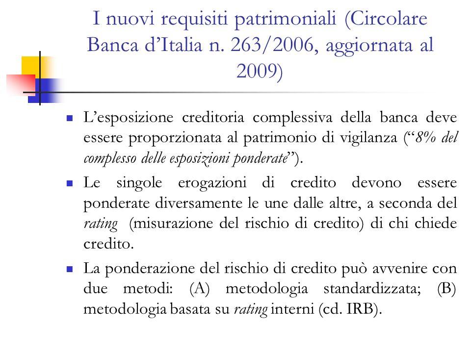 I nuovi requisiti patrimoniali (Circolare Banca dItalia n. 263/2006, aggiornata al 2009) Lesposizione creditoria complessiva della banca deve essere p