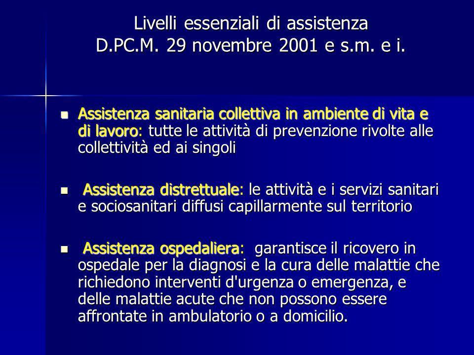 Livelli essenziali di assistenza D.PC.M. 29 novembre 2001 e s.m. e i. Assistenza sanitaria collettiva in ambiente di vita e di lavoro: tutte le attivi