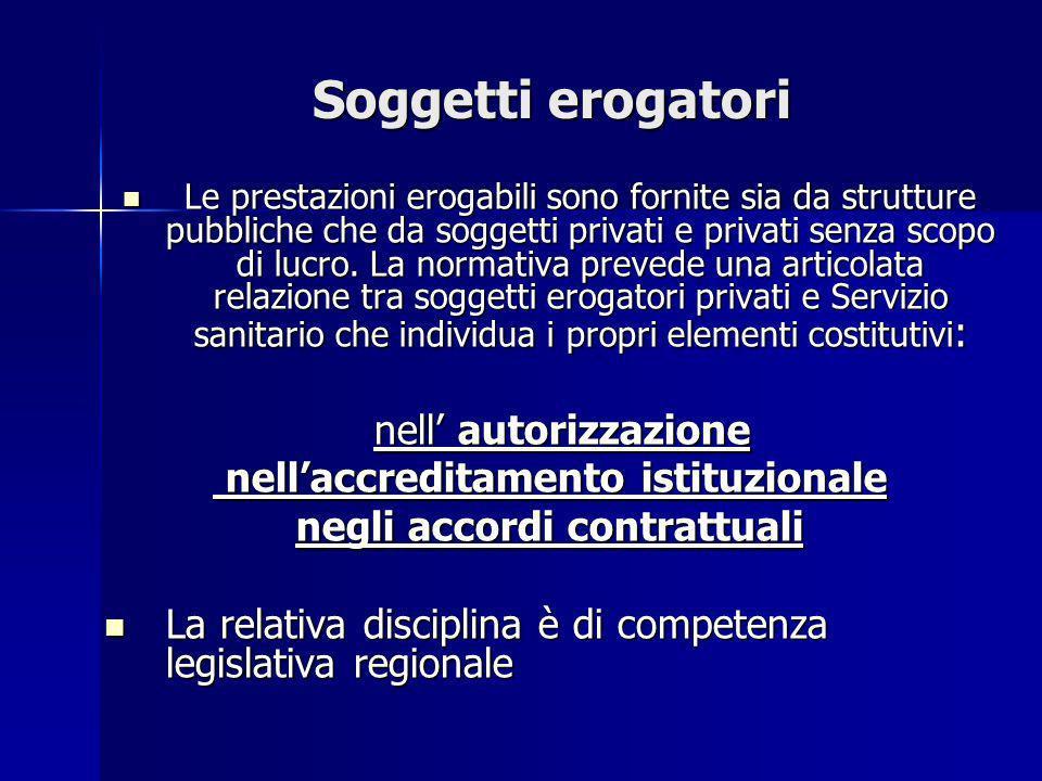 Soggetti erogatori Le prestazioni erogabili sono fornite sia da strutture pubbliche che da soggetti privati e privati senza scopo di lucro. La normati