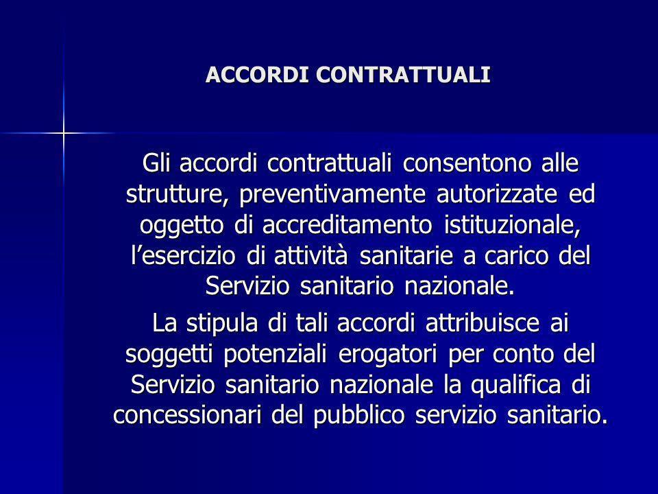 ACCORDI CONTRATTUALI Gli accordi contrattuali consentono alle strutture, preventivamente autorizzate ed oggetto di accreditamento istituzionale, leser