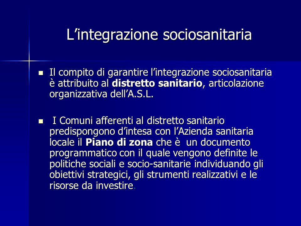 Lintegrazione sociosanitaria Il compito di garantire lintegrazione sociosanitaria è attribuito al distretto sanitario, articolazione organizzativa del