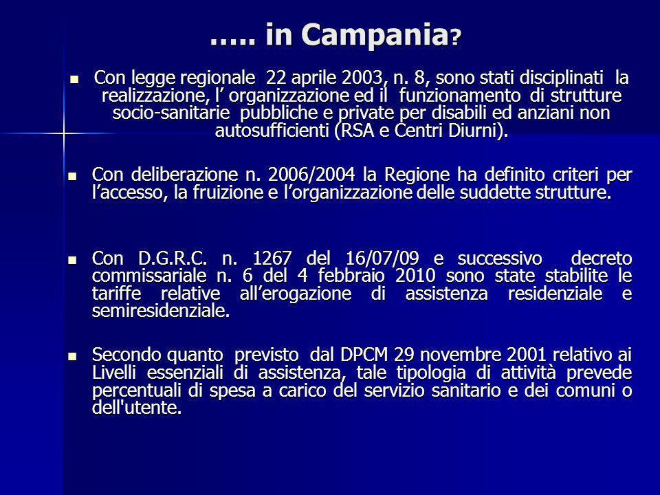 ….. in Campania ? Con legge regionale 22 aprile 2003, n. 8, sono stati disciplinati la realizzazione, l organizzazione ed il funzionamento di struttur