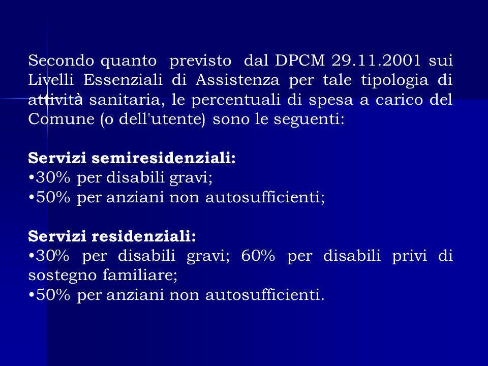 Secondo quanto previsto dal DPCM 29.11.2001 sui Livelli Essenziali di Assistenza per tale tipologia di attivit à sanitaria, le percentuali di spesa a