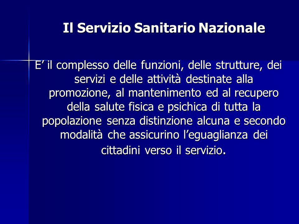 Il Servizio Sanitario Nazionale Il Servizio Sanitario Nazionale E il complesso delle funzioni, delle strutture, dei servizi e delle attività destinate