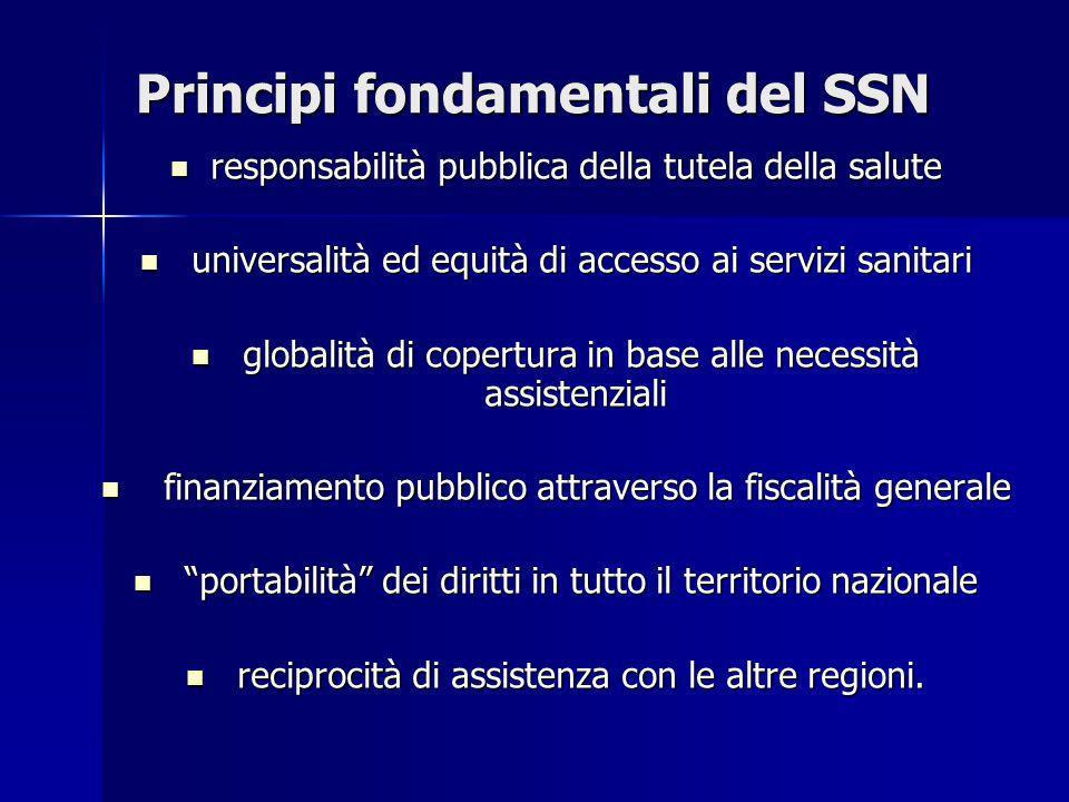 Principi fondamentali del SSN responsabilità pubblica della tutela della salute responsabilità pubblica della tutela della salute universalità ed equi
