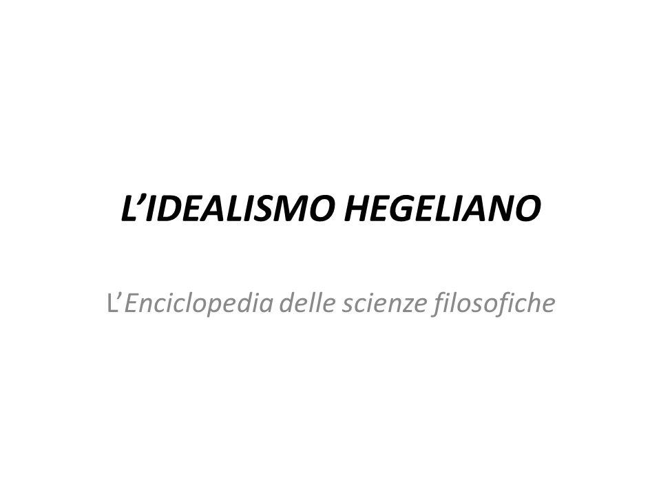 LENCICLOPEDIA DELLE SCIENZE FILOSOFICHE NellEnciclopedia delle scienze filosofiche Hegel esamina le manifestazioni dinamiche dellAssoluto.