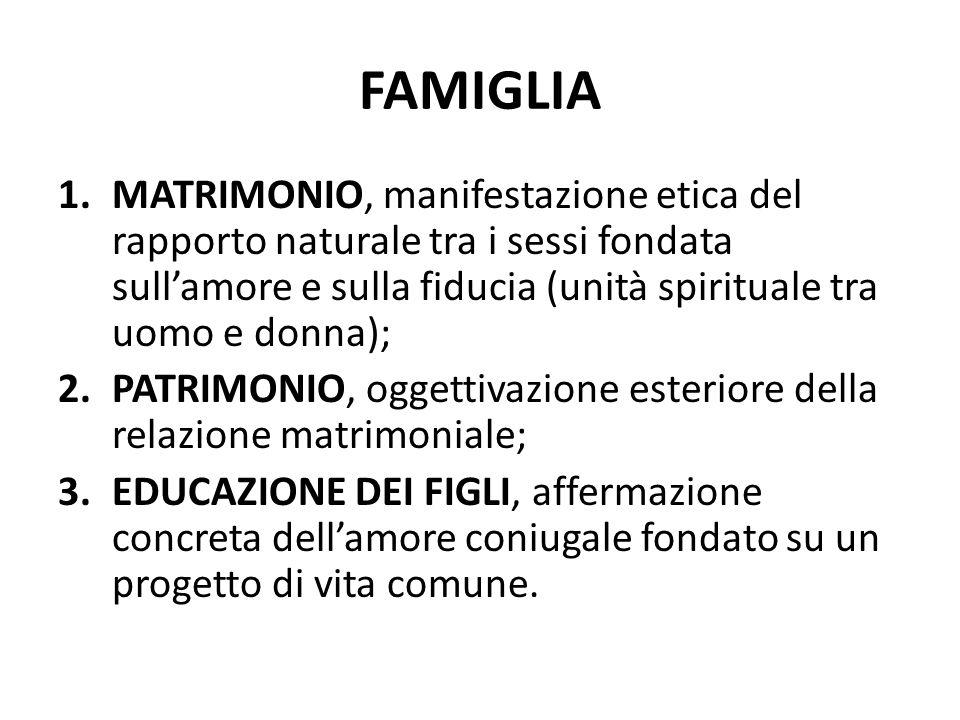 FAMIGLIA 1.MATRIMONIO, manifestazione etica del rapporto naturale tra i sessi fondata sullamore e sulla fiducia (unità spirituale tra uomo e donna); 2