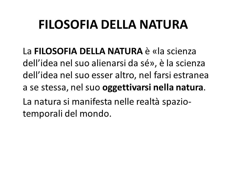 FILOSOFIA DELLA NATURA La FILOSOFIA DELLA NATURA è «la scienza dellidea nel suo alienarsi da sé», è la scienza dellidea nel suo esser altro, nel farsi