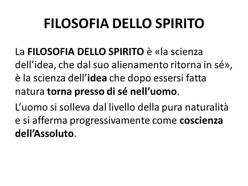 FILOSOFIA DELLO SPIRITO La FILOSOFIA DELLO SPIRITO è «la scienza dellidea, che dal suo alienamento ritorna in sé», è la scienza dellidea che dopo esse