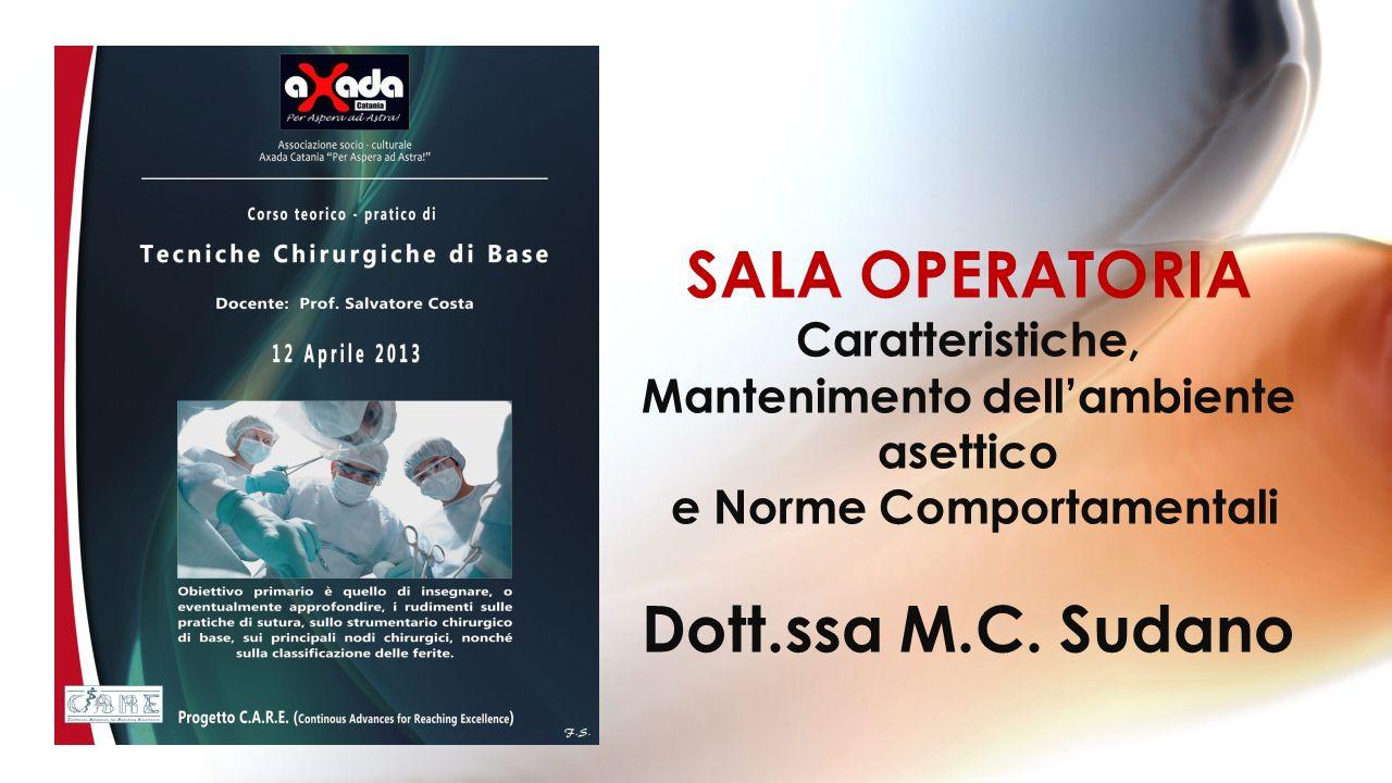 SALA OPERATORIA Caratteristiche, Mantenimento dellambiente asettico e Norme Comportamentali Dott.ssa M.C. Sudano