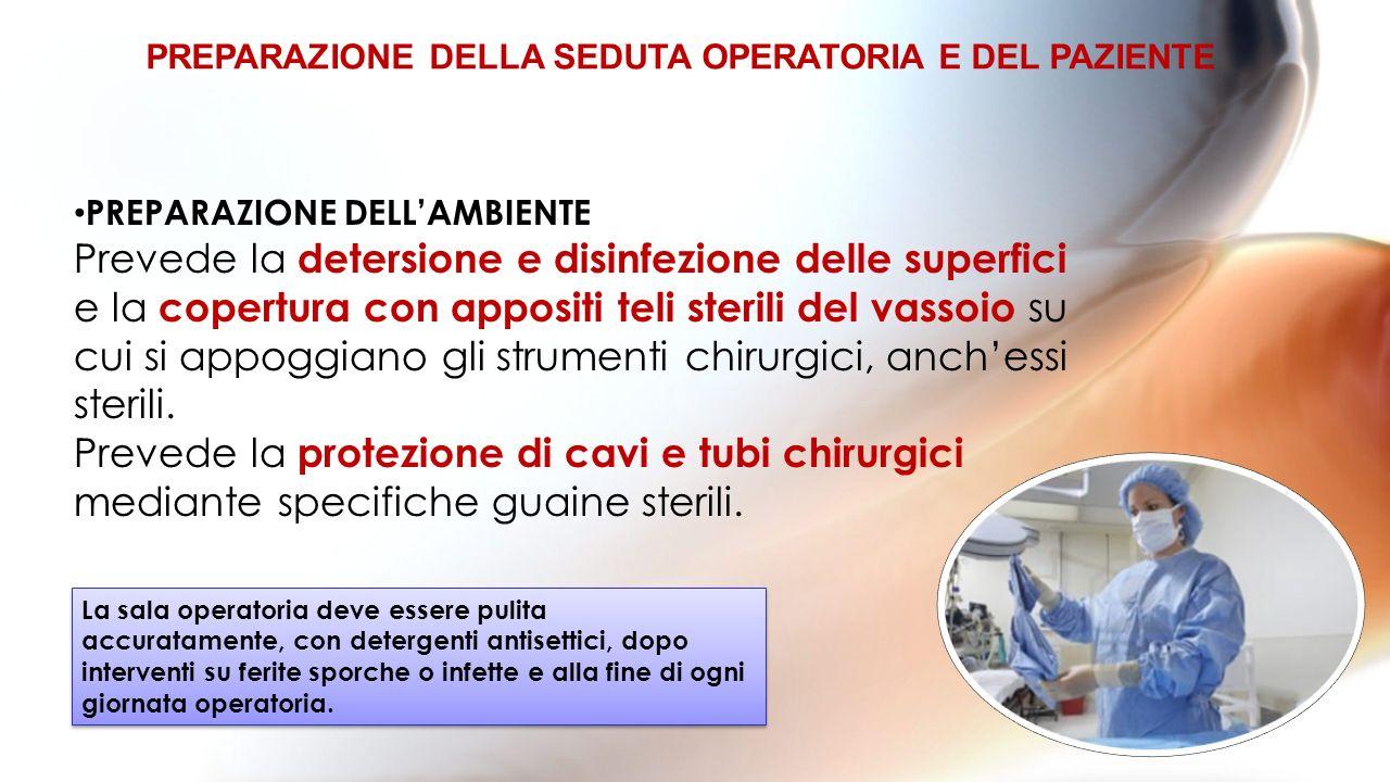 PREPARAZIONE DELLAMBIENTE Prevede la detersione e disinfezione delle superfici e la copertura con appositi teli sterili del vassoio su cui si appoggiano gli strumenti chirurgici, anchessi sterili.