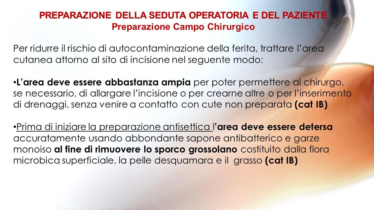 PREPARAZIONE DELLA SEDUTA OPERATORIA E DEL PAZIENTE Per ridurre il rischio di autocontaminazione della ferita, trattare larea cutanea attorno al sito