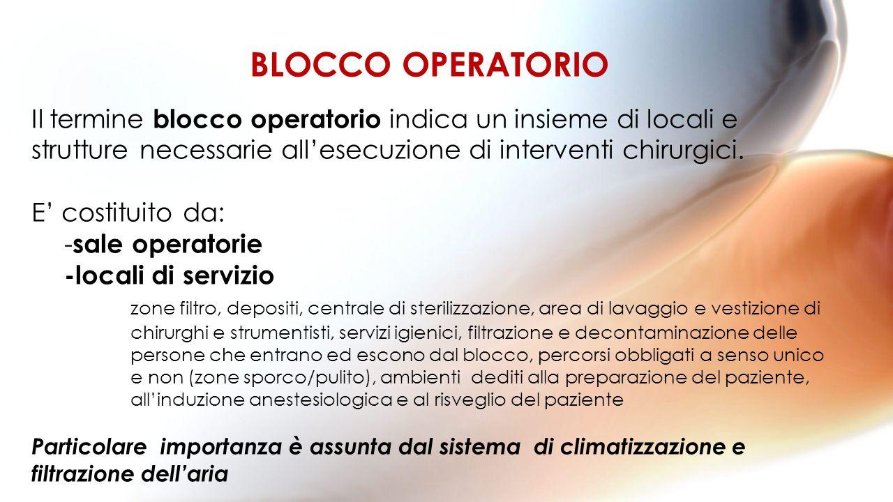 Il termine blocco operatorio indica un insieme di locali e strutture necessarie allesecuzione di interventi chirurgici. E costituito da: - sale operat
