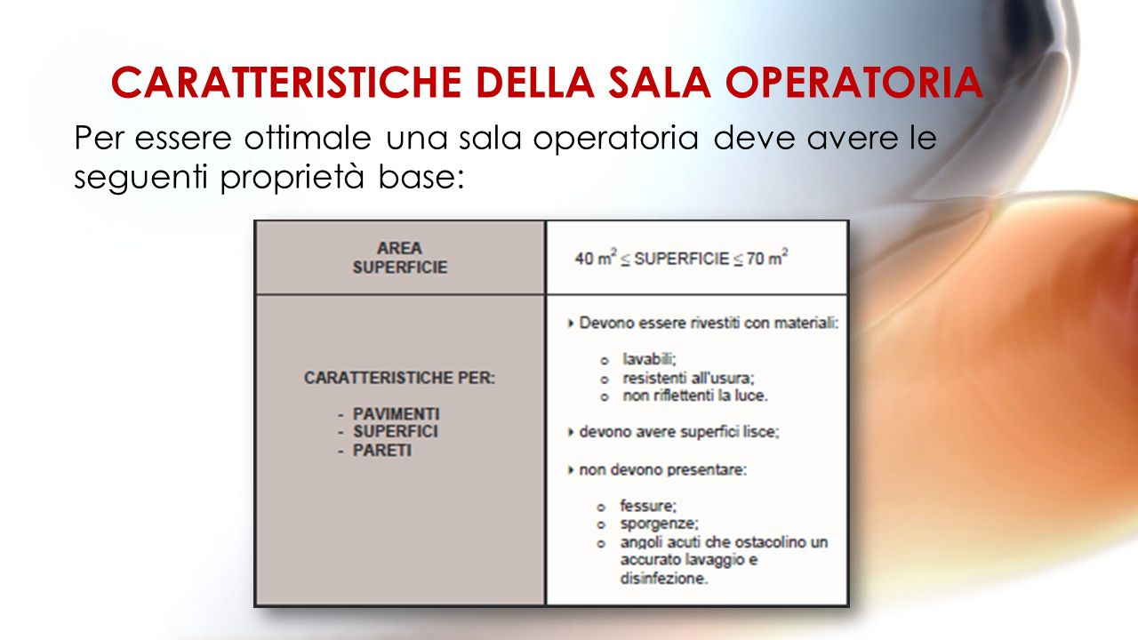 Per essere ottimale una sala operatoria deve avere le seguenti proprietà base: CARATTERISTICHE DELLA SALA OPERATORIA