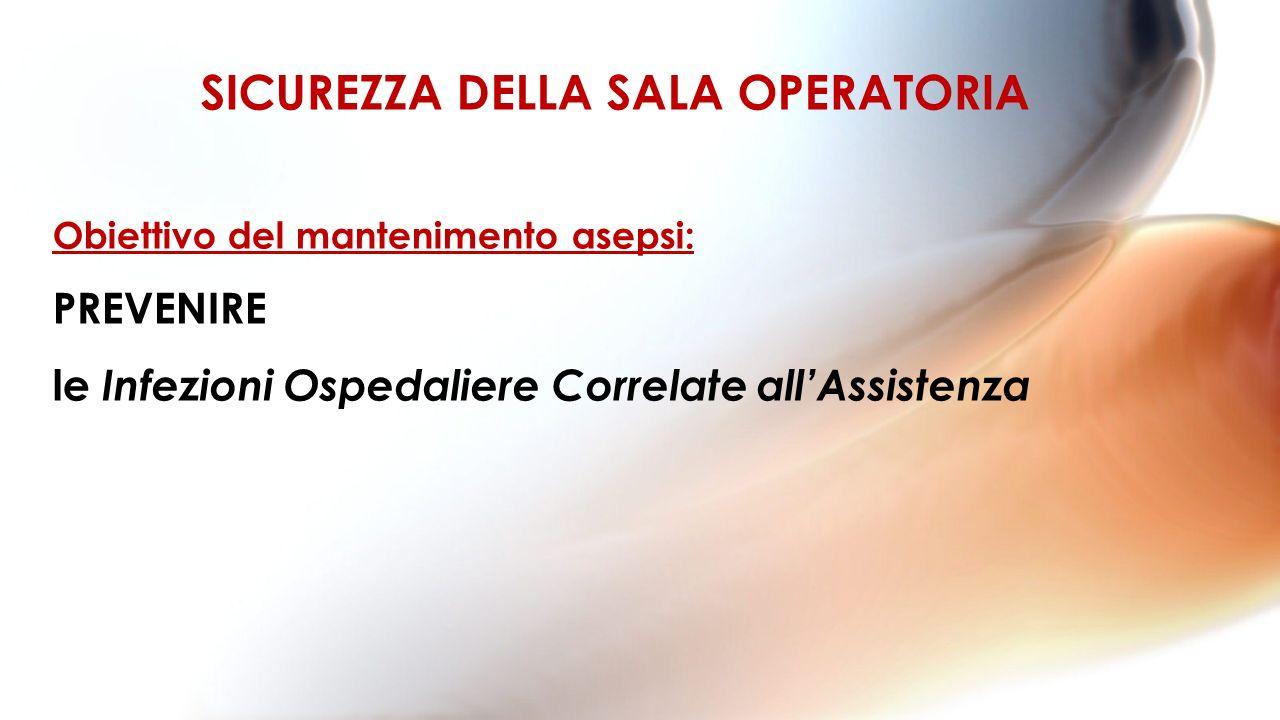 Obiettivo del mantenimento asepsi: PREVENIRE le Infezioni Ospedaliere Correlate allAssistenza SICUREZZA DELLA SALA OPERATORIA