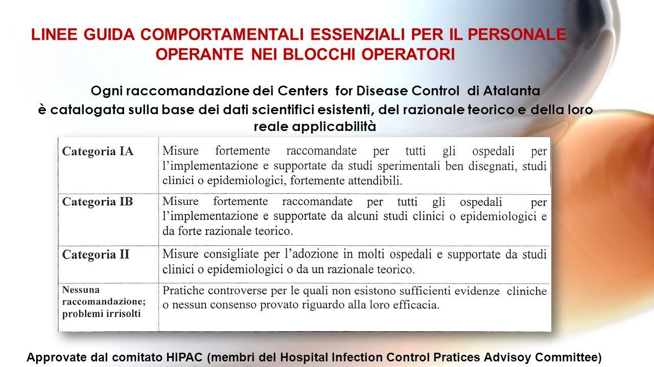 LINEE GUIDA COMPORTAMENTALI ESSENZIALI PER IL PERSONALE OPERANTE NEI BLOCCHI OPERATORI Ogni raccomandazione dei Centers for Disease Control di Atalant