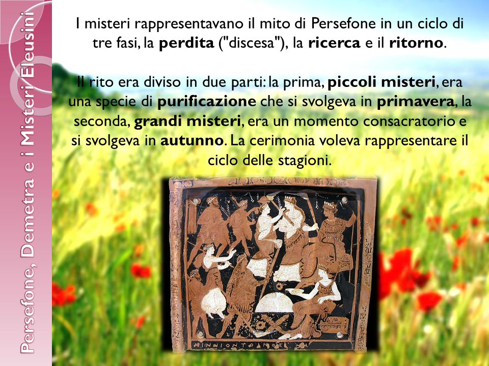 I misteri rappresentavano il mito di Persefone in un ciclo di tre fasi, la perdita ( discesa ), la ricerca e il ritorno.