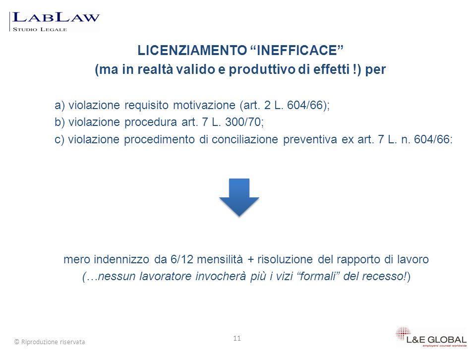 LICENZIAMENTO INEFFICACE (ma in realtà valido e produttivo di effetti !) per 11 © Riproduzione riservata a) violazione requisito motivazione (art. 2 L