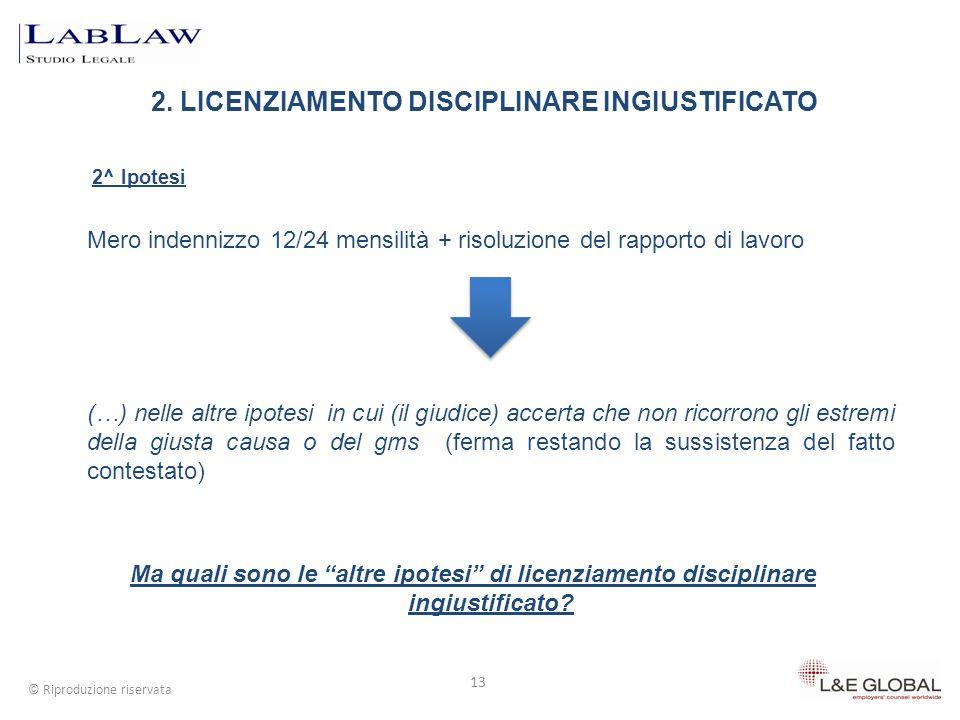 2. LICENZIAMENTO DISCIPLINARE INGIUSTIFICATO 13 © Riproduzione riservata 2^ Ipotesi Mero indennizzo 12/24 mensilità + risoluzione del rapporto di lavo