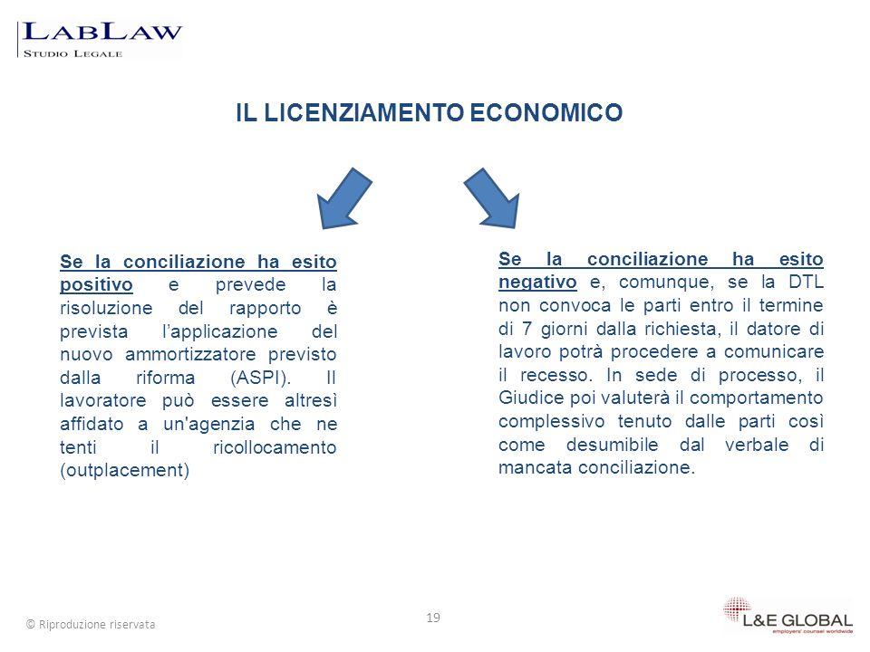 IL LICENZIAMENTO ECONOMICO 19 © Riproduzione riservata Se la conciliazione ha esito negativo e, comunque, se la DTL non convoca le parti entro il term