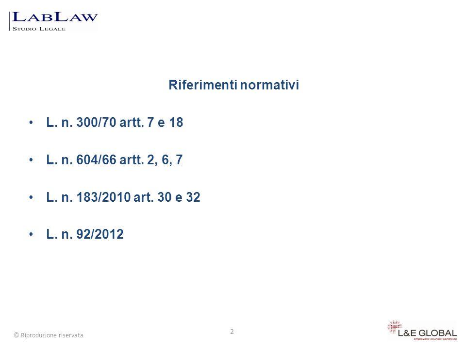 Riferimenti normativi L. n. 300/70 artt. 7 e 18 L. n. 604/66 artt. 2, 6, 7 L. n. 183/2010 art. 30 e 32 L. n. 92/2012 2 © Riproduzione riservata