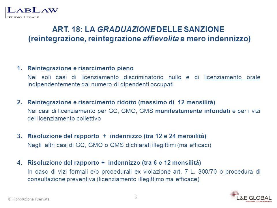 6 © Riproduzione riservata 1. Reintegrazione e risarcimento pieno Nei soli casi di licenziamento discriminatorio nullo e di licenziamento orale indipe