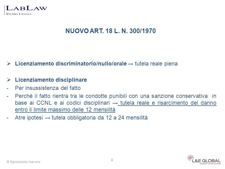 8 © Riproduzione riservata Licenziamento discriminatorio/nullo/orale tutela reale piena Licenziamento disciplinare -Per insussistenza del fatto -Perch