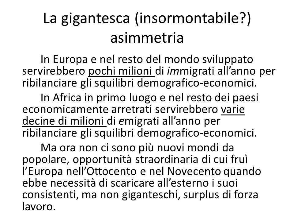 La gigantesca (insormontabile ) asimmetria In Europa e nel resto del mondo sviluppato servirebbero pochi milioni di immigrati allanno per ribilanciare gli squilibri demografico-economici.