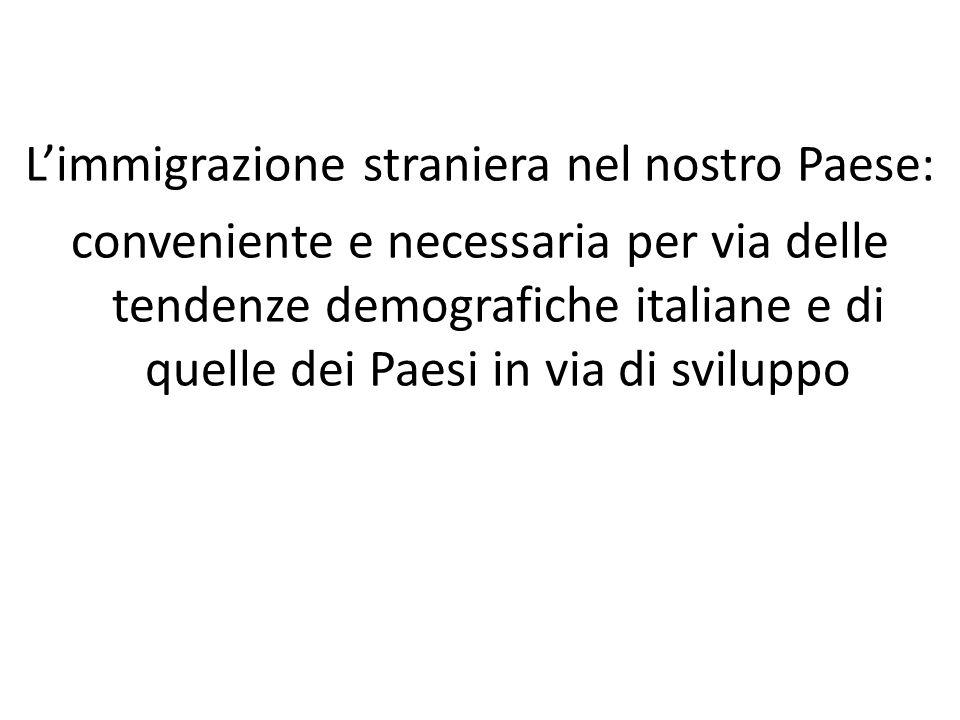 Limmigrazione straniera nel nostro Paese: conveniente e necessaria per via delle tendenze demografiche italiane e di quelle dei Paesi in via di sviluppo