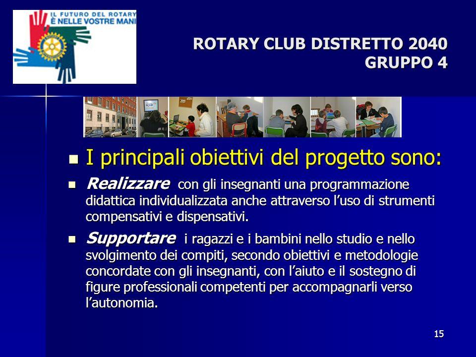 ROTARY CLUB DISTRETTO 2040 GRUPPO 4 I principali obiettivi del progetto sono: I principali obiettivi del progetto sono: Realizzare con gli insegnanti
