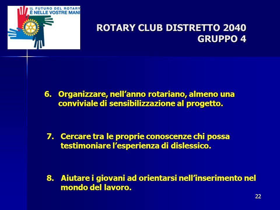 ROTARY CLUB DISTRETTO 2040 GRUPPO 4 6.Organizzare, nellanno rotariano, almeno una conviviale di sensibilizzazione al progetto. 22 7.Cercare tra le pro