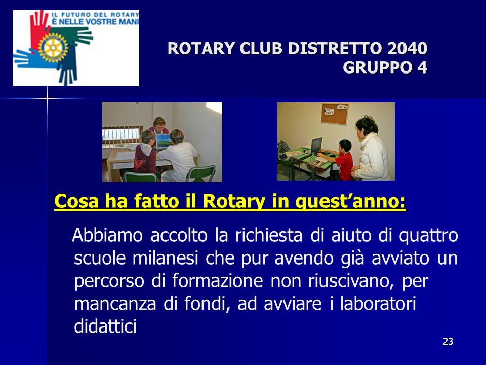 23 ROTARY CLUB DISTRETTO 2040 GRUPPO 4 Cosa ha fatto il Rotary in questanno: Abbiamo accolto la richiesta di aiuto di quattro scuole milanesi che pur