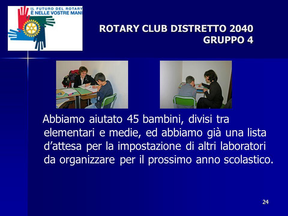 24 ROTARY CLUB DISTRETTO 2040 GRUPPO 4 Abbiamo aiutato 45 bambini, divisi tra elementari e medie, ed abbiamo già una lista dattesa per la impostazione