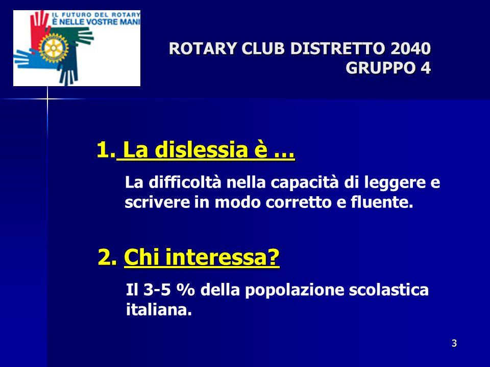 3 La dislessia è … 1. La dislessia è … La difficoltà nella capacità di leggere e scrivere in modo corretto e fluente. ROTARY CLUB DISTRETTO 2040 GRUPP