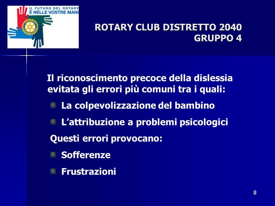 8 ROTARY CLUB DISTRETTO 2040 GRUPPO 4 Il riconoscimento precoce della dislessia evitata gli errori più comuni tra i quali: La colpevolizzazione del ba