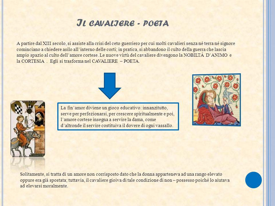 I L CAVALIERE - POETA A partire dal XIII secolo, si assiste alla crisi del ceto guerriero per cui molti cavalieri senza né terra né signore cominciano