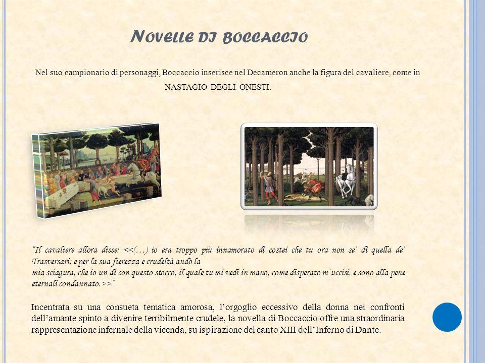 N OVELLE DI BOCCACCIO Nel suo campionario di personaggi, Boccaccio inserisce nel Decameron anche la figura del cavaliere, come in NASTAGIO DEGLI ONEST