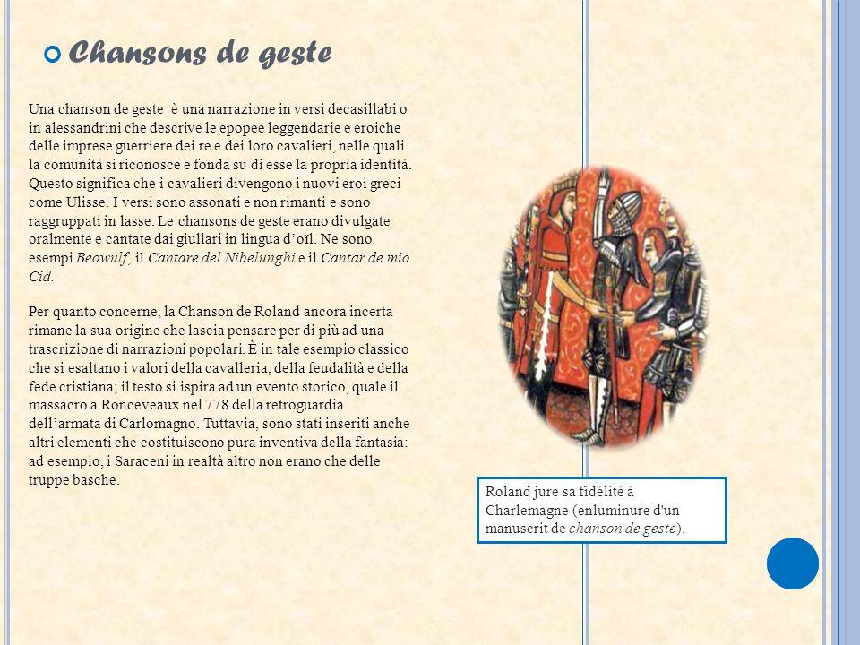 Roland jure sa fidélité à Charlemagne (enluminure d'un manuscrit de chanson de geste). Una chanson de geste è una narrazione in versi decasillabi o in