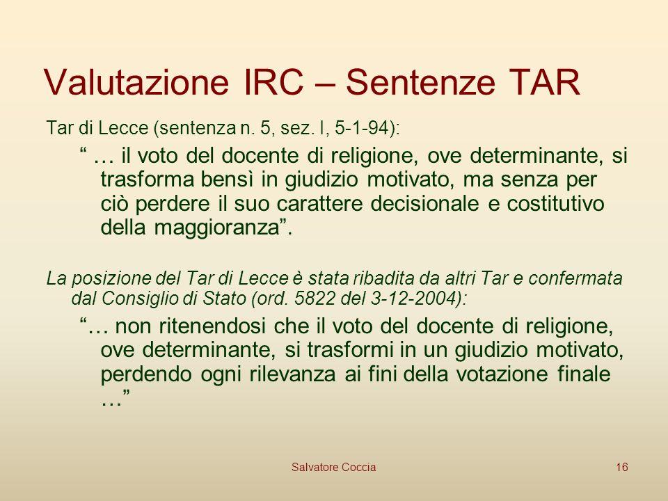 Valutazione IRC – Sentenze TAR Tar di Lecce (sentenza n.