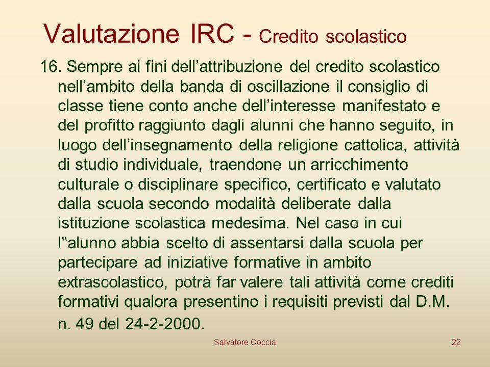 Valutazione IRC - Credito scolastico 16.